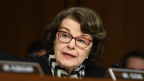US Senate Judiciary Committee member Dianne Feinstein speaks during the hearing on May 8, 2017, on Capitol Hill in Washington, DC. / AFP PHOTO / JIM WATSON        (Photo credit should read JIM WATSON/AFP/Getty Images)