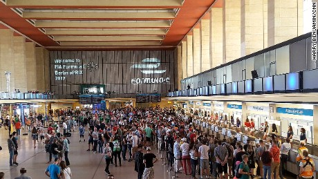 Formula E fans inside the old terminal building at Berlin's Tempelhof Airport.