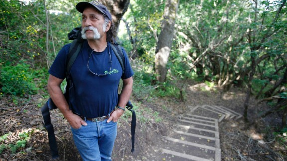 Mark Siino prepares to head north on the Pfeiffer Canyon trail that opened after a bridge failure.