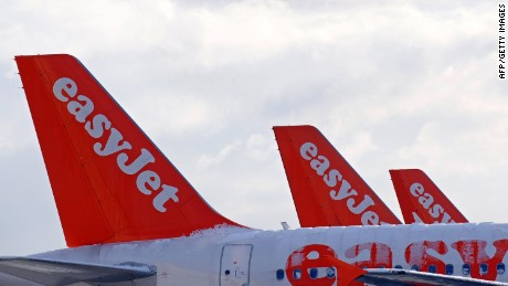 Easyjet aircraft stand at a Liverpool airport in 2010.