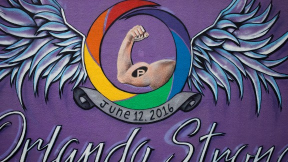 """Orlando Strong"" mural seen on Mills Avenue on Thursday, June 8, 2017 in Orlando, Florida. Many in the LGBT community say the mural's supportive messages make you stand a little taller, prouder -- a feeling of belonging in a city you call home in spite of the horrible act of hate at Pulse."