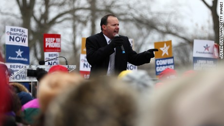 WASHINGTON, DC - MARCH 15:  U.S. Sen. Mike Lee (R-UT) speaks during a Freedom Works rally against the proposed GOP health care plan at Upper Senate Park across from the U.S. Capitol on March 15, 2017 in Washington, DC. Hundreds of protesters with the conservative group Freedom Works held a rally in opposition of the proposed GOP health care plan. (Photo by Justin Sullivan/Getty Images)