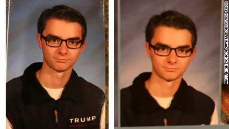 Junior Wyatt Dobrovich-Fago's high school yearbook photo also was altered.
