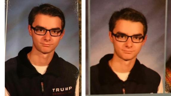 Junior Wyatt Dobrovich-Fago's high school yearbook photo also was altered.