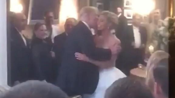 trump wedding crash kiss bride