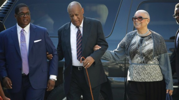 Bill Cosby arrives for his assault trial with his wife Camille Cosby and publicist Andrew Wyatt.
