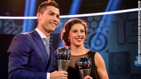 Lloyd, named FIFA Best Women's Player this year, poses alongside Cristiano Ronaldo in Zurich.