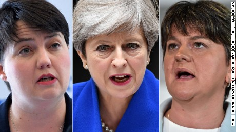 From left: Ruth Davidson, Theresa May and Arlene Foster.
