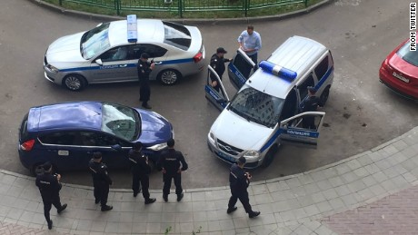 Yulia Navalnaya, Navalny's wife, tweeted a photo of his June arrest ahead of a rally in Moscow.
