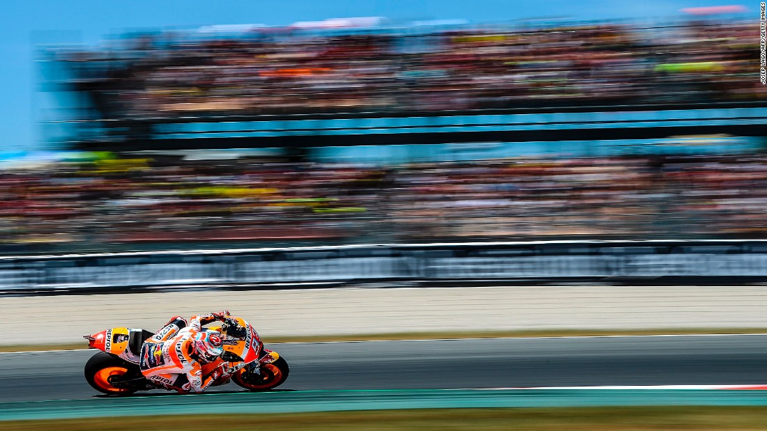 Marc Marquez negotiates a curve during the MotoGP race in Montmelo, Spain, on Sunday, June 11. He finished in second.