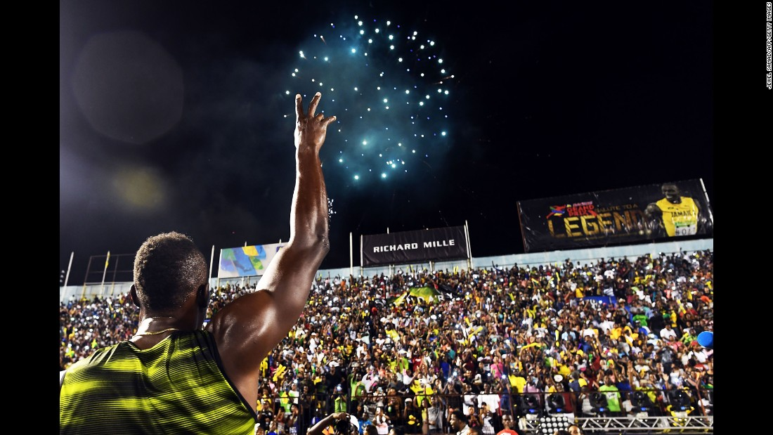 Usain Bolt, the world's fastest man, salutes the crowd Saturday, June 10, after running his final race in his home country of Jamaica. Bolt is retiring in August after the World Championships.