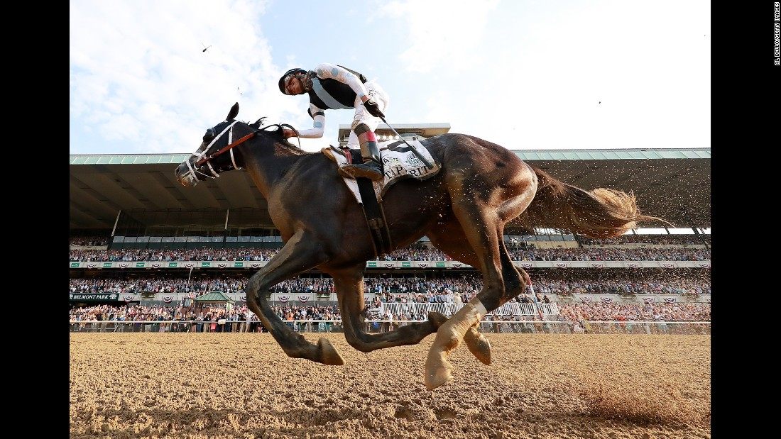 "Jose Ortiz rides Tapwrit to victory in <a href=""http://www.cnn.com/2017/06/10/sport/belmont-stakes-tapwrit/index.html"" target=""_blank"">the Belmont Stakes</a> on Saturday, June 10. Ortiz's brother Irad won the race last year."