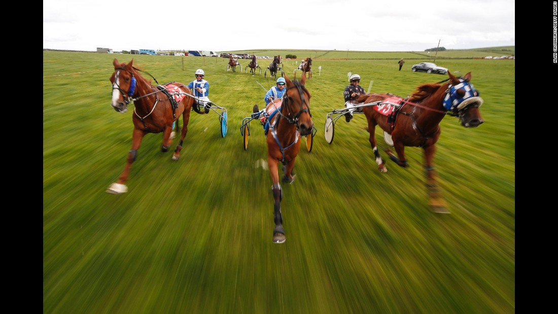Harness racers compete in Matlock, England, on Sunday, June 11.