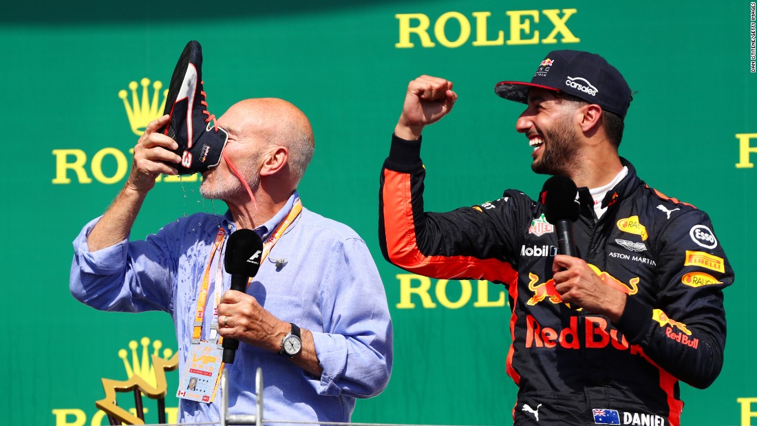 "Actor Patrick Stewart drinks from Daniel Ricciardo's shoe after the Formula One driver, right, finished third in <a href=""http://www.cnn.com/2017/06/11/motorsport/f1-canada-hamilton-vettel/index.html"" target=""_blank"">the Canadian Grand Prix</a> on Sunday, June 11. The ""shoey"" is Ricciardo's signature celebration."