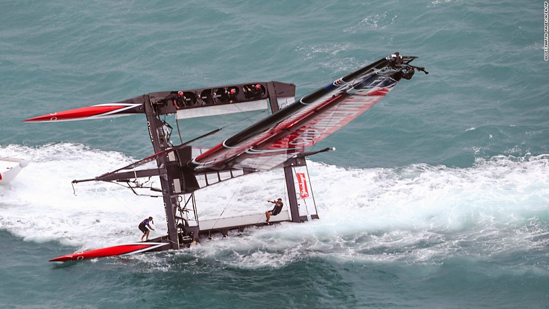 "The catamaran of Emirates Team New Zealand <a href=""http://www.cnn.com/2017/06/07/sport/emirates-team-new-zealand-capsize-americas-cup/index.html"" target=""_blank"">capsizes</a> at the start of an America's Cup semifinal on Tuesday, June 6. The team lost the point but still went on to win the Challenger playoffs."