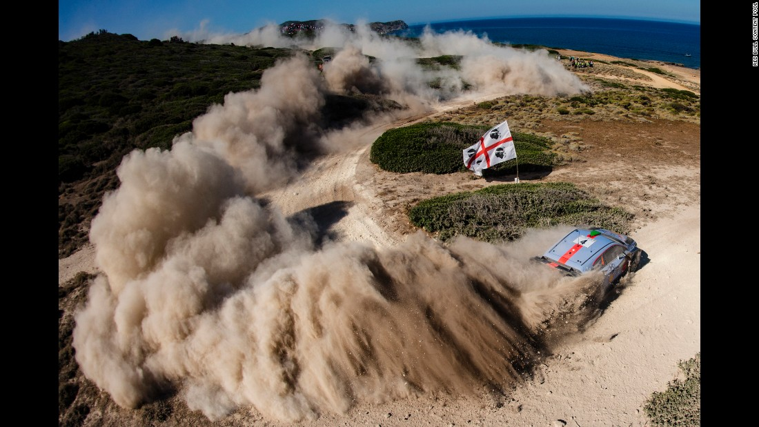Hayden Paddon's car kicks up dust during the World Rally race in Alghero, Italy, on Saturday, June 10.