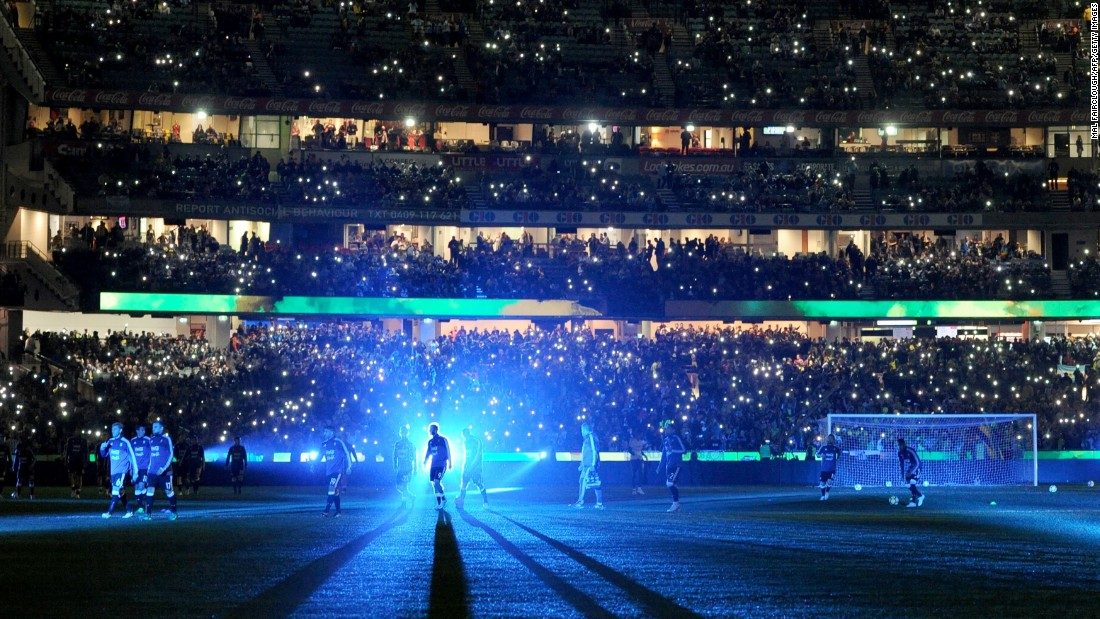 "The stadium lights dim as Brazilian soccer players warm up in Melbourne on Friday, June 9. Brazil was about to play its rival Argentina in a friendly match. <a href=""http://www.cnn.com/2017/06/05/sport/gallery/what-a-shot-sports-0606/index.html"" target=""_blank"">See 24 amazing sports photos from last week</a>"