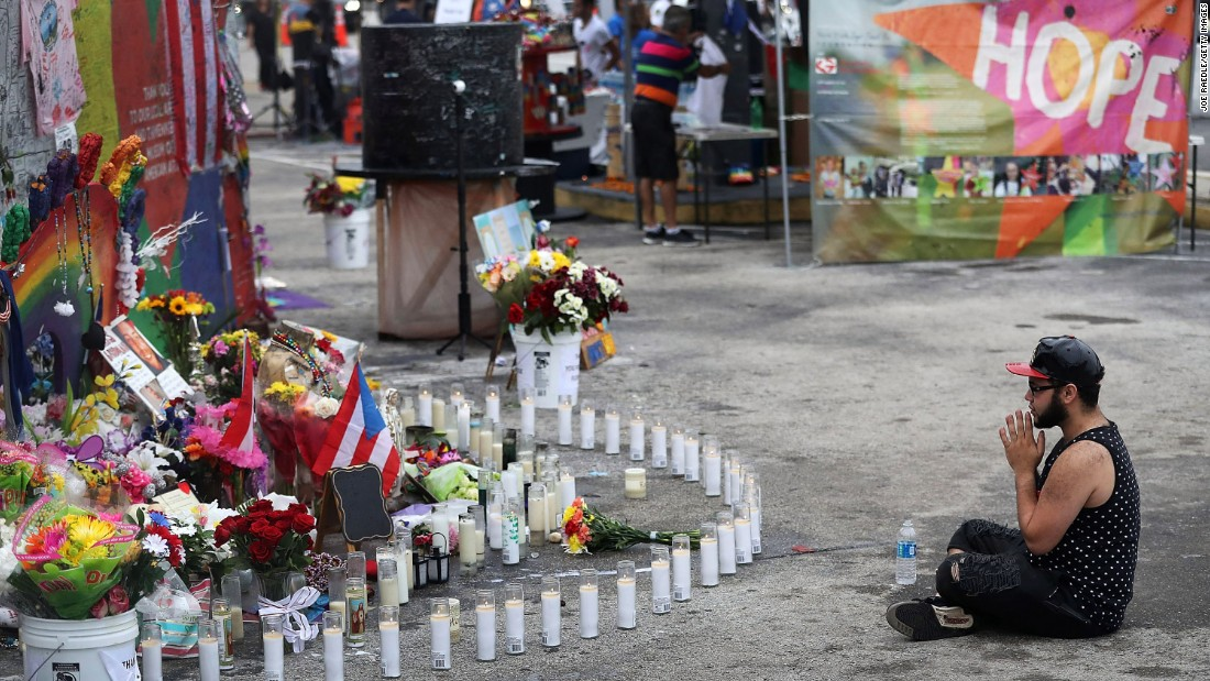 Jose Ramirez, a survivor of the shooting, visits the memorial site on June 12.
