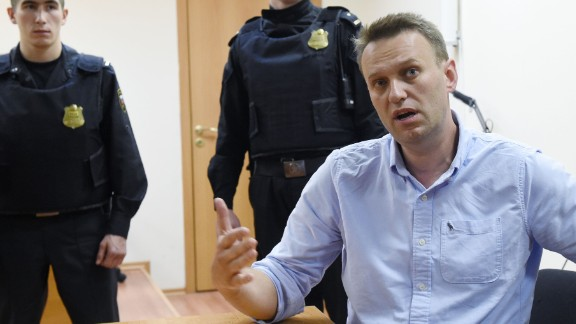 Alexey Navalny speaks after his Monday hearing.