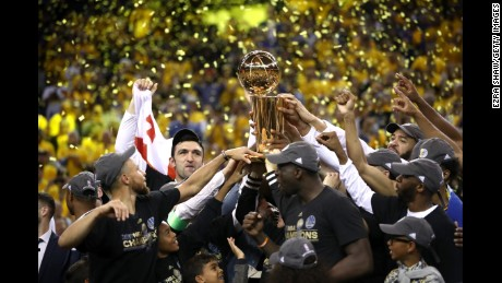 The Golden State Warriors celebrate after defeating Cleveland to win the 2017 NBA Finals.