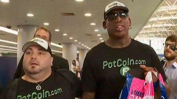 "At the Beijing airport, Rodman told CNN he was hoping to do ""something that's pretty positive"" before boarding a plane bound for North Korea."