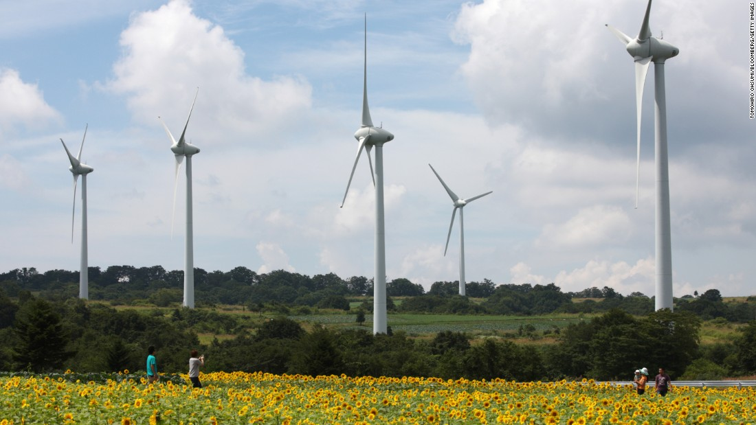 Japan is looking into new ways to power the country. Pictured here, a J-Power wind farm in Koriyama City.