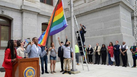 The city of Philadelphia unveiled this flag in a ceremony last week.