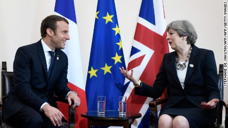 Britain's Prime Minister Theresa May and French President Emmanuel Macron will meet on Thursday.