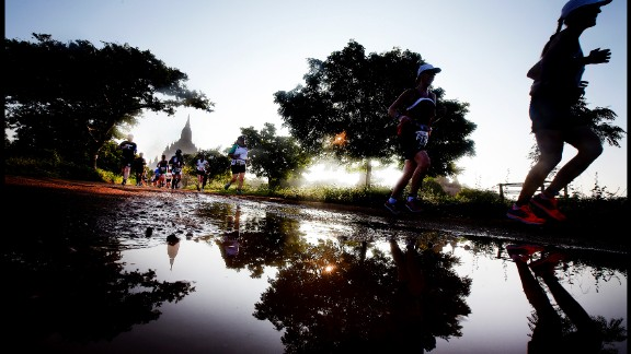 Blue skies, verdant pastures, and red-brick pagodas -- the Bagan Temple marathon is a sight to behold.