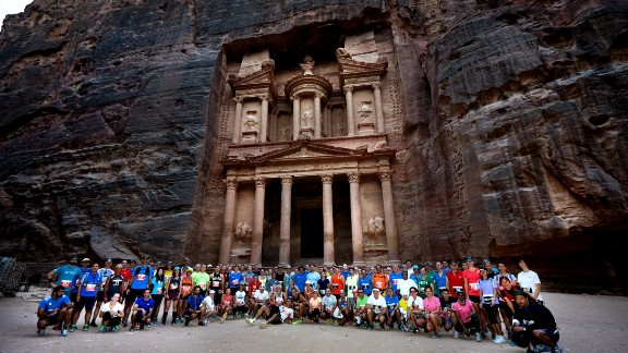 Competitors from 2015 stand before the ancient ruins carved out of the red sandstone mountains. Dating back to 4 BC, the city was once home to the Nabataean tribe.
