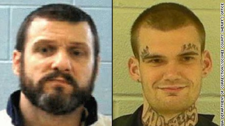 Inmates Donnie Russell Rowe, left, and Ricky Dubose escaped from a bus Tuesday, authorities said.