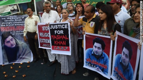Pakistani demonstrators take part in a protest the killing of journalism student Mashal Khan in Karachi on April 22.