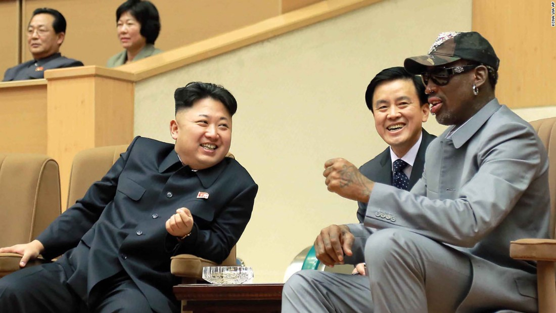 "In a handout photo from the North Korean government, North Korean leader Kim Jong Un talks with Rodman during an exhibition basketball game in Pyongyang on January 8, 2014. Rodman, a former contestant on Donald Trump's pre-presidency reality TV show ""Celebrity Apprentice,"" is one of the few Americans to have met Kim."