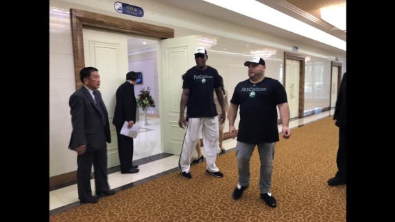 "Rodman arrives in North Korea on June 13. When asked if he planned to talk to North Korean officials about the four Americans detained there, Rodman said: ""Well that's not my purpose right now. ... My purpose is to go over there and try to see if I can keep bringing sports to North Korea."""