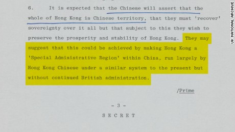 As early as 1982, establishing Hong Kong as a Chinese 'Special Administrative Region,' as it is today, was being discussed. Original image altered for clarity.