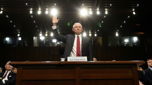Attorney General Jeff Sessions is sworn-in before testifying during a US Senate Select Committee on Intelligence hearing on Capitol Hill in Washington, DC, June 13, 2017. / AFP PHOTO / SAUL LOEB        (Photo credit should read SAUL LOEB/AFP/Getty Images)