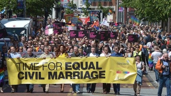 This march in Belfast in 2015 saw thousands call for same sex marriage.
