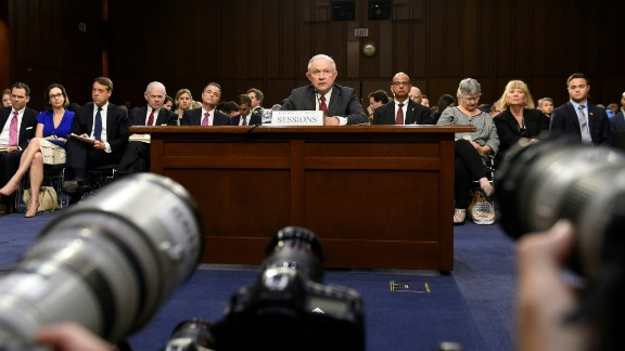 Attorney General Jeff Sessions testifies during a US Senate Select Committee on Intelligence hearing on Capitol Hill in Washington, DC, June 13, 2017. US Attorney General Jeff Sessions vehemently denied Tuesday that he colluded with an alleged Russian bid to tilt the 2016 presidential election in Donald Trump