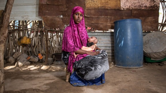 Somalia: A former child bride, now 16, holds her 2-month-old daughter outside her family's home. Somalia has an adolescent birth rate of 102.6 births per 1,000 girls 15 to 19. In the United States, that rate is 21.2 births per 1,000 girls. In Sweden, it's 5.7 births per 1,000 girls.
