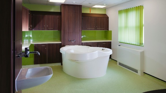 Birthing room and pool at Royal Hampshire County Hospital in Winchester.