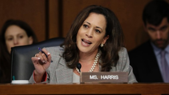 Sen. Kamala Harris, questions Attorney General Jeff Sessions testifies before the Senate Select Committee on Intelligence about his role in the firing of FBI Director James Comey and the investigation into contacts between Trump campaign associates and Russia, on Capitol Hill in Washington, Tuesday, June 13, 2017.