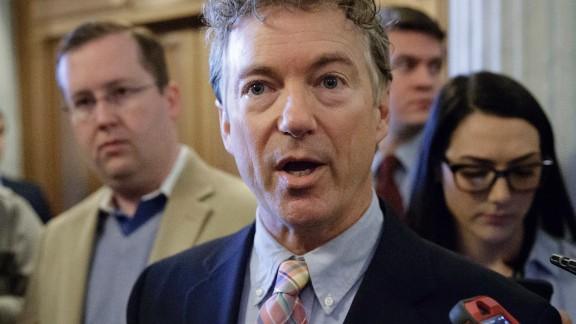 Kentucky Sen. Rand Paul speaks to reporters on Capitol Hill in Washington.