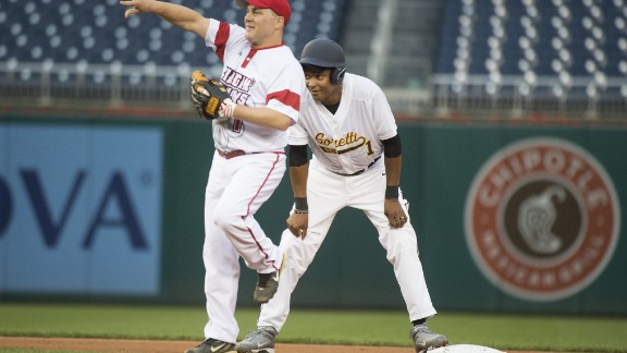 Reps. Cedric Richmond, the Louisiana Democrat, and Steve Scalise, the Louisiana Republican, play during the Republicans' 8-7 victory in 2016.