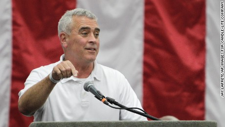 IMAGE DISTRIBUTED FOR CANDLE-LITE COMPANY - Congressman Brad Wenstrup speaks to guests during Candle-lite's 175th anniversary celebration, Saturday, July 25, 2015, in Leesburg, Ohio. (Jay LaPrete/AP Images for Candle-lite Company)