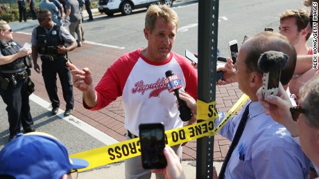 U.S. Sen. Jeff Flake (R-AZ) briefs members of the media near Eugene Simpson Stadium Park where a shooting took place on June 14, 2017 in Alexandria, Virginia. U.S. House Majority Whip Rep. Steve Scalise (R-LA) and multiple congressional aides were shot by a gunman during a Republican baseball practice.