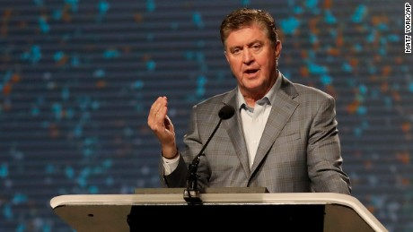 Dr. Steve Gaines gives the president's address during the Southern Baptist Convention annual meeting, Tuesday, June 13, 2017, in Phoenix.
