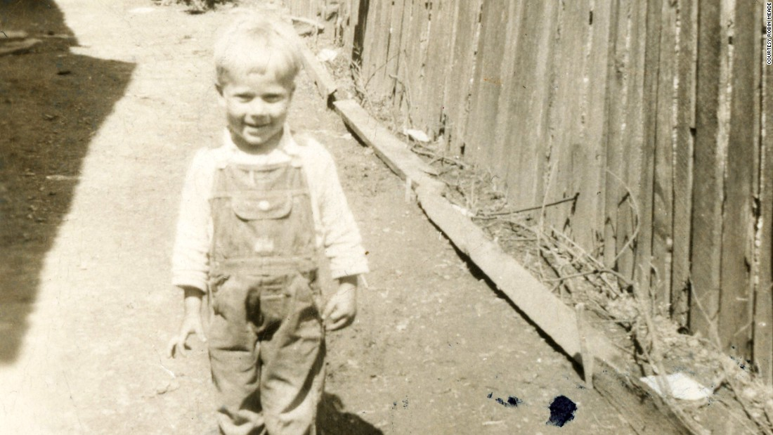 Linro Meade was the last child of 14 born to Robert and Myrtie Meade. In this photo, he is about 3 years old in the backyard of the home where the family lived in Eastern Kentucky.