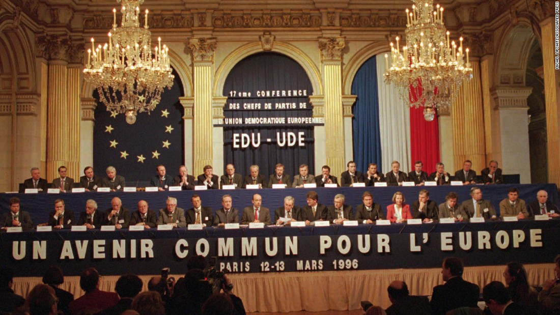 In the '90s, there was little talk of Brexit or the rise of nationalism, only unity in Europe. In 1993, the Maastricht Treaty went into effect, creating the European Union and granting all citizens of the union's member states EU citizenship. Here, in 1996, a group of European conservatives meet to discuss the Maastricht Treaty and creation of a unified army.