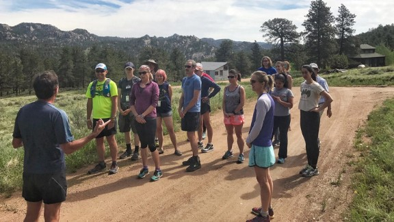 Running with the Mind coach Marty Kibiloski teaches mindfulness running methods in Boulder, Colorado.