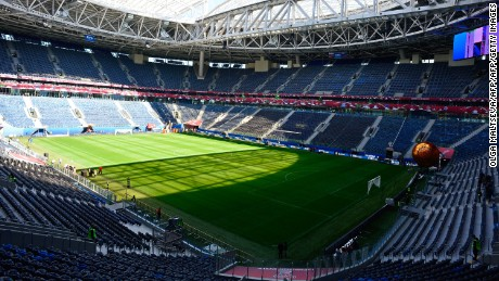 A picture taken on on June 15, 2017 shows a general view of the Saint-Petersburg arena at the Krestovsky Island in Saint Petersburg, ahead of the 2017 FIFA Confederations Cup football tournament.   / AFP PHOTO / OLGA MALTSEVA        (Photo credit should read OLGA MALTSEVA/AFP/Getty Images)